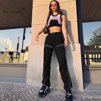 Side Slit Patchwork Streetwear Women Pants 2019 Black High Waist Sweatpants Straight Joggers Buttons Slim Punk Summer Pants