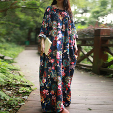 Plus Size Women Dress 2016 Spring Maxi Dress Long Sleeve O-neck Vintage Flower Print Robe Cotton Linen Long Dresses Ethnic Cloth