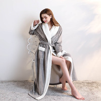 thickening men women nightgown pajamas Unisex Winter Long Dressing Gown Soft Flannel Bathrobe Full Length Nightwear Housecoat