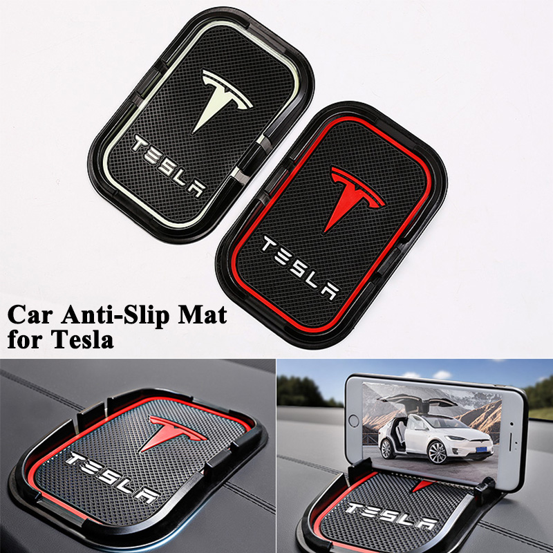 1 stück Auto Anti Slip Mat Sticky Pad mit Logo Dashboard anti-slip matte telefon schlüssel GPS halter Zubehör für Tesla Model S Modell X