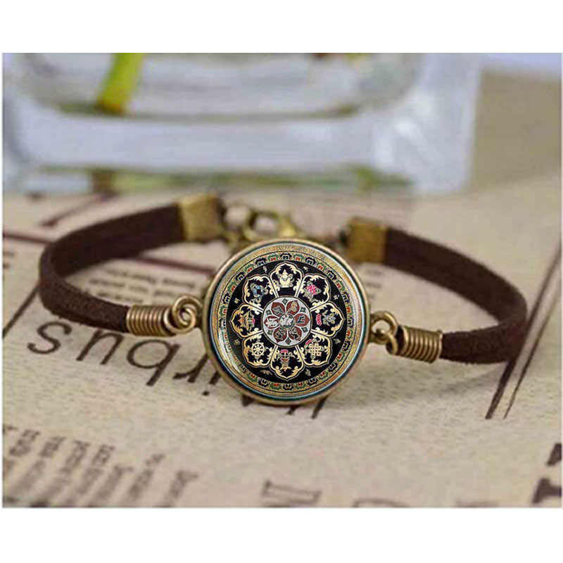 Tibetan Buddhist mandala bracelet Sacred geometry Jewelry bracelet Spiritual accessory black men mandala bracelet Bangle