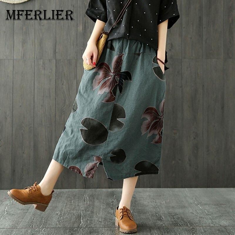 Mferlier Mori Girl Summer Big Floral Print Vintage Skirt Elastic Waist Artsy Female Cotton Linen A Line Skirt