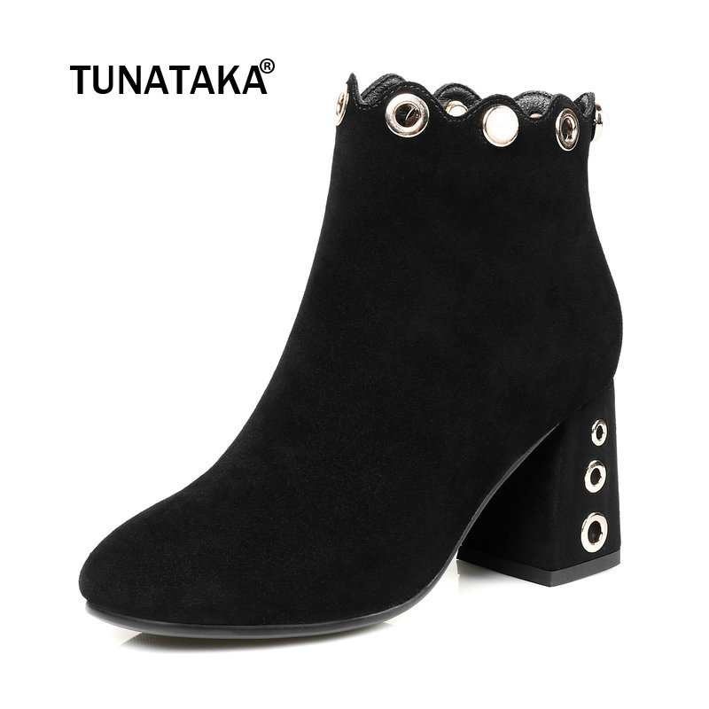 Suede Square High Heel String Bead Woman Ankle Boots Fashion Side Zipper Dress Ladies Boots Black Army Green