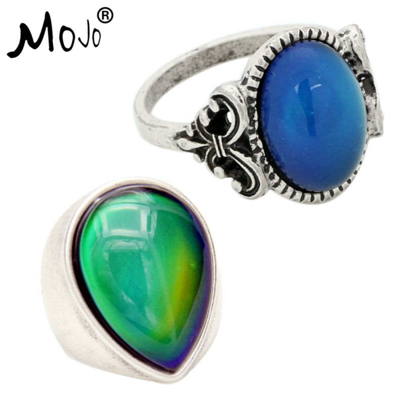 2PCS Antique Silver Plated Color Changing Mood Rings Changing Color Temperature Emotion Feeling Rings Set For Women/Men 008-048
