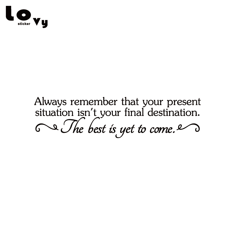 Present Situation Isn't Your Final Destination Best Yet To Come Quote Vinyl Wall Sticker / Decal for Bedroom Home Decor WA0444 image