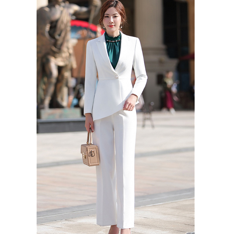 Women elegant pant suit slim fashion formal black white long sleeve symmetrical blazer with trousers office ladies suits 4 XL