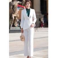 Женский элегантный брючный костюм Тонкий Модный формальный черный белый длинный рукав симметричный блейзер с брюками офисные женские кост