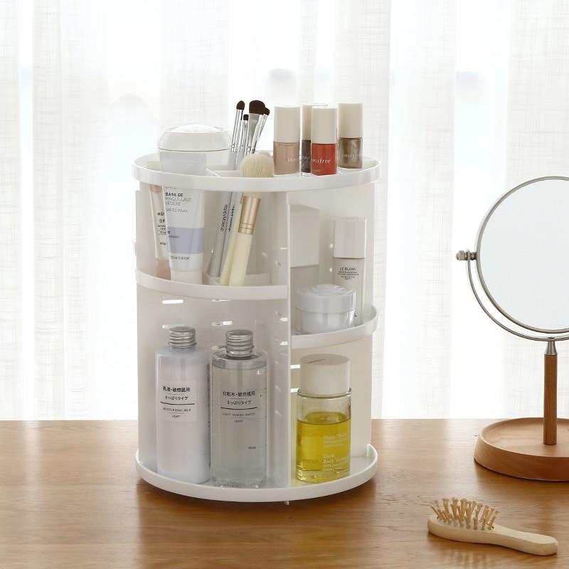 360 degrés rotatif organisateur de maquillage huile pour ongles soin de la peau produit boîte de rangement cosmétique organisateur étui de rouge à lèvres boîte en plastique