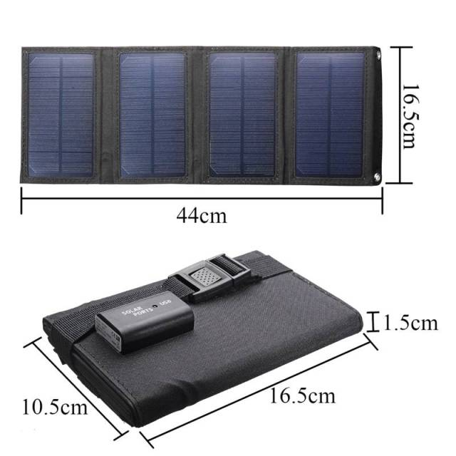 Portable 20W Solar Panel Folding Solar Cell Foldable Waterproof USB Port Charger Mobile Power Bank for Phone Battery Outdoor 5
