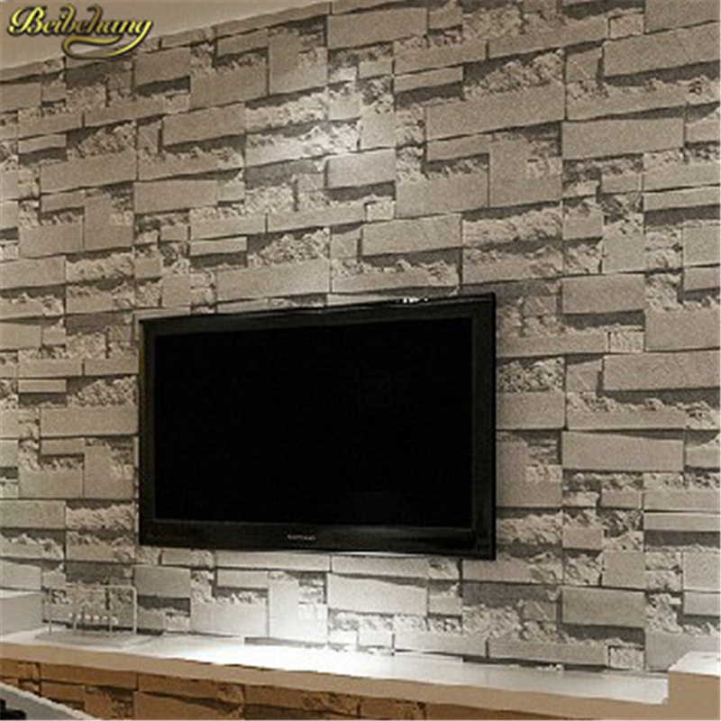 Beibehang stacked brick 3d stone wallpaper roll grey brick for Grey brick wallpaper living room
