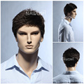 Fashion Full Lace Natural Men Wig Inclined Bang Short Straight Dark Brown Hair Pieces High Quality For European And American Men