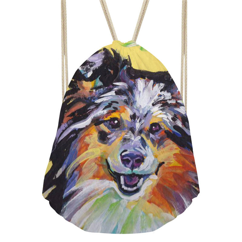 THIKIN Colourful cat and dog Classic Fashion Women Men Drawstring Bags Polyester High-Quality School Backpack For Teenagers