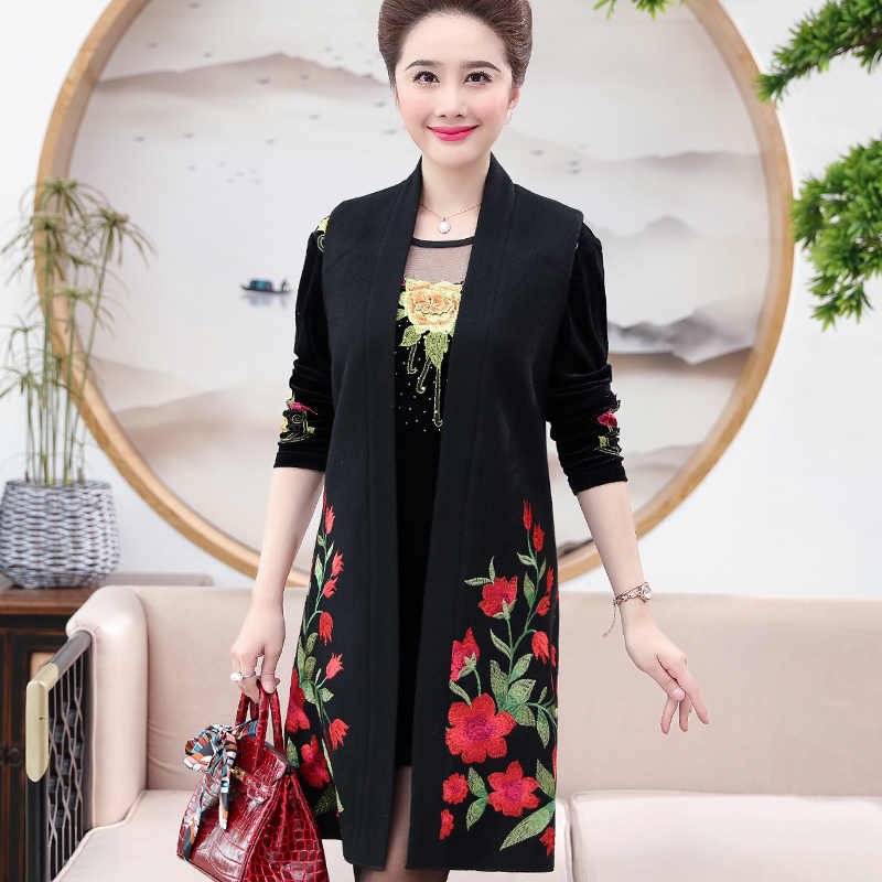 New Fashion Middle Aged Women Elegant Floral Embroidery Two Piece Dress  Mother Long Sleeve Party Dresses 533788fee7d1