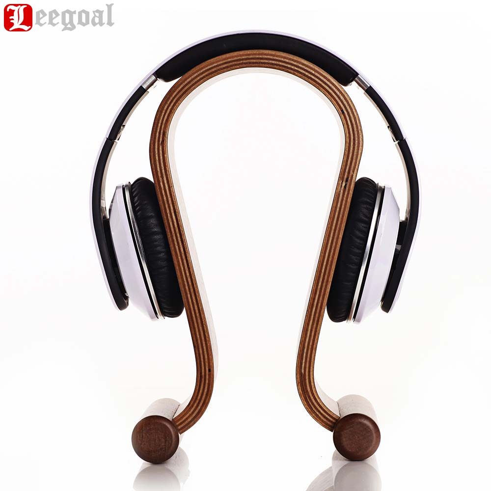 Durable Wooden Headphone Stand Mount Holder Headset Hanger Suitable for Bluetooth Headset and Wired Headset Brown Walnut