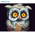 SDOYUNO Frame Abstract Owl DIY Painting By Numbers Kits Animals Acrylic Paint By Numbers Hand Painted For Home Decor 40x50cm
