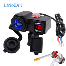 LMoDri Motorcycle 12V Dual USB Power Port Scooter ATV Charger Adapter Cigarette Lighter Socket Outlet With Voltmeter Waterproof