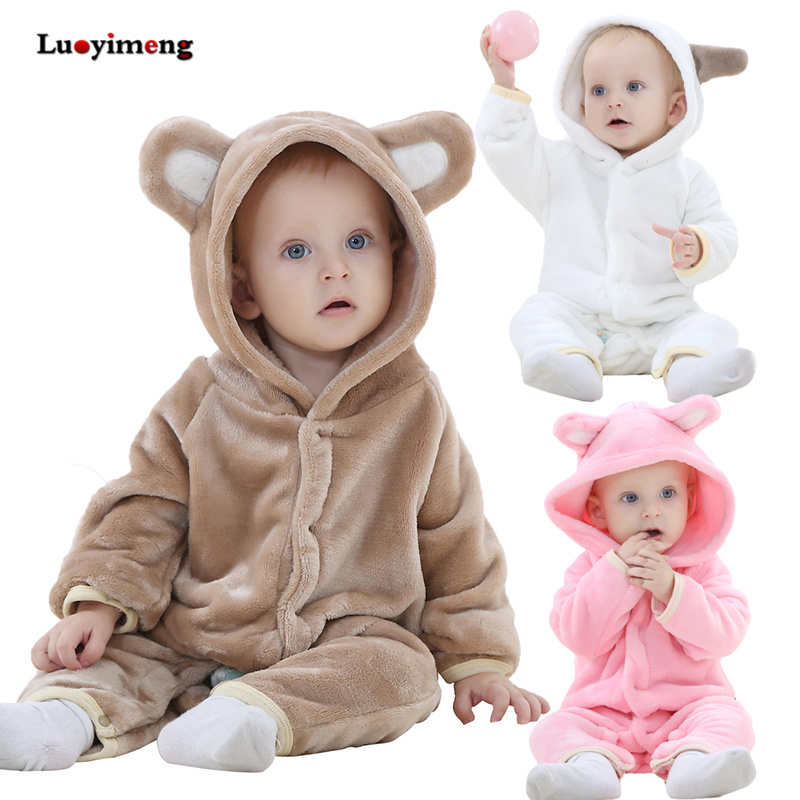 Newborn Baby Rompers Boys Girls Clothes Onesie Jumpsuit Infant Cartoon Pajamas Winter Warm Animal Stitch Panda Romper For Babies free shipping winter newborn infant baby clothes baby boys girls thick warm cartoon animal hoodie rompers jumpsuit outfit yl