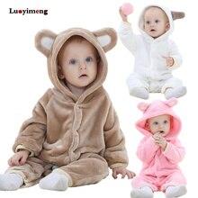 Mamelucos de bebé recién nacido Ropa de niños niñas Onesie mono pijamas de dibujos  animados infantil invierno cálido Animal Stit. 295bda4bfa6