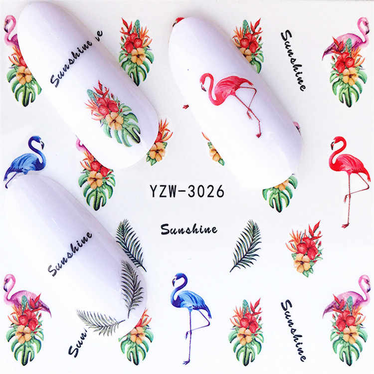 1 pcs สติกเกอร์เล็บ Decals สีขาวดอกไม้ผีเสื้อโอนตกแต่งเล็บ 2018 m2NS62