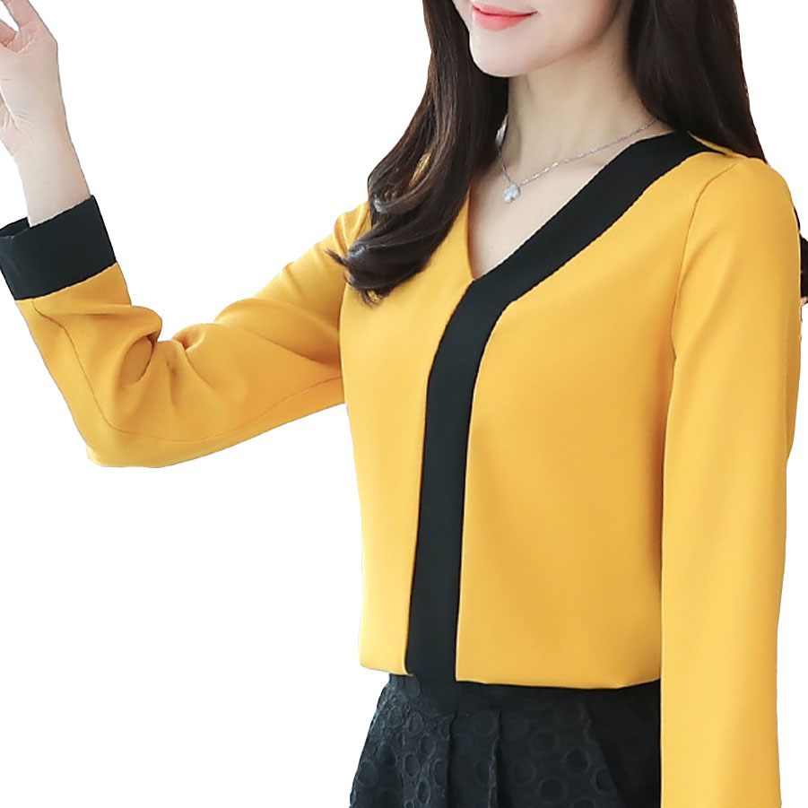 Office Lady White Yellow Blouse Spring Summer Shirts Women's Blouses Tops Long Sleeve V Neck Black Patchwork Chiffon Shirt Blusa