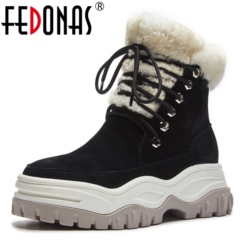 FEDONAS New Women Cow Suede Ankle Boots Platforms Winter Snow Boots Round Toe Lace Up Short Martin Shoes Woman Basic Boots round toe suede lace up mens boots