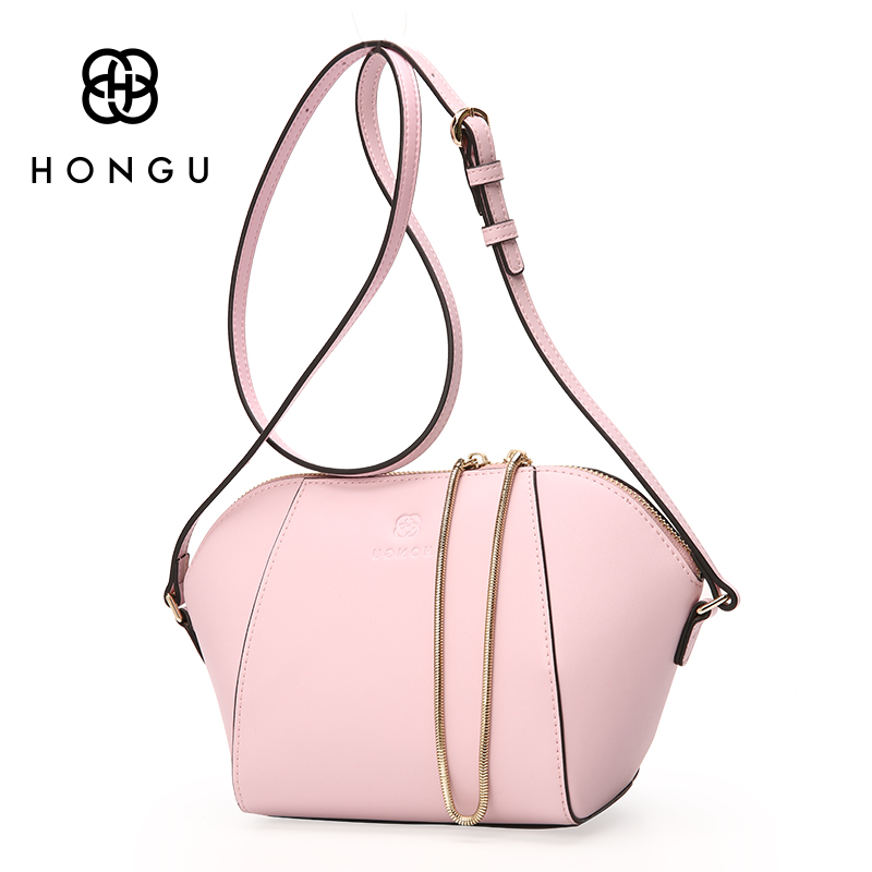 HONGU Pink Cow Leather Lady Shell Crossbody Shoulder Bag Female Luxury Handbag Chain Zipper Women Evening Kit Big&Small 2pcs/set 2017 hot fashion women bags 3d diamond shape shoulder chain lady girl messenger small crossbody satchel evening zipper hangbags