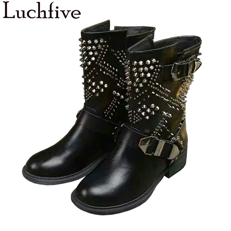 Personality punk rock style ankle Boots for women spiked rivets studded cow leather flat heel Strap buckled martin short boots punk style chunky heel and rivets design women s ankle boots