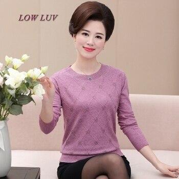 9c1f0e368 Primavera e no Outono em mulheres idosas camisola de mangas compridas  soltas mãe carregado outono camisola de meia idade