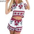 Alecrim zaful verão mulheres ternos retro floral colheita top calções definir elegante mini vestidos de praia boho dois outfits peça playsuit