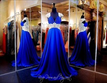 Royal Blue New Charming Real Sample Chiffon Sexy Cap Sleeves Lace Beading Prom Dresses For Wedding