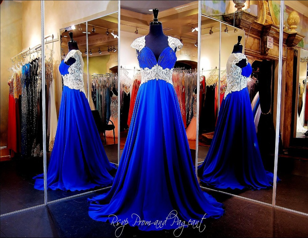 Royal Blue New Charming Real Sample Chiffon Sexy Cap Sleeves Lace Beading Prom font b Dresses