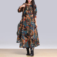 2018 New Three Quarter Sleeve Maxi Robe Vestidos De Fiesta Ethnic Print Long Ankle Length Dress