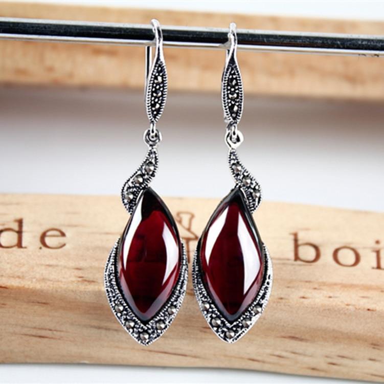KJJEAXCMY fine jewelry S925 Sterling silver vintage Thai silver garnet earrings with gemstone earrings Korean long style earring серьги висячие vintage style pentacle earrings