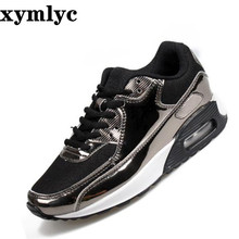Spring summer explosions fashion laceup air womens shoes bright face couple casual running shallow mouth round flat