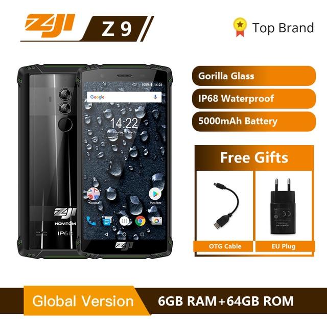 "HOMTOM ZOJI Z9 IP68 עמיד למים Helio P23 אנדרואיד 8.1 אוקטה core Smartphone 5.7 ""6 GB 64 GB 5500 mAh פנים מזהה טביעת אצבע טלפון נייד"