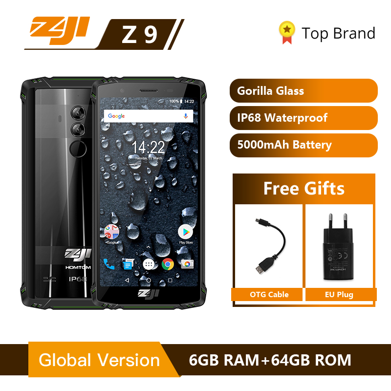 "HOMTOM ZOJI Z9 IP68 Waterproof Helio P23 <font><b>Android</b></font> 8.1 Octa core Smartphone 5.7"" 6GB 64GB 5500mAh Face ID Fingerprint Mobile phone"
