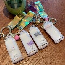 Floating piglet liquid bottle keychain quicksand drift milk keyring for women bag pendant