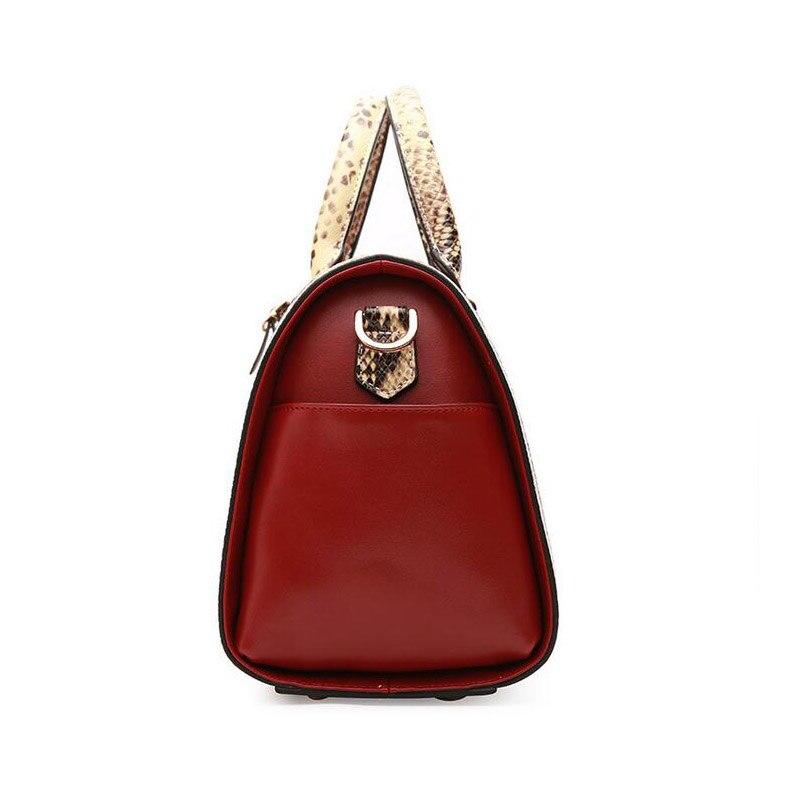 Femmes en cuir véritable sacs Boston sac à main marque sacs à bandoulière motif serpent dames mode Messenger sacs sacoche sacs à bandoulière-in Sacs à bandoulière from Baggages et sacs    2