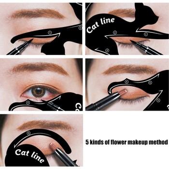 2 Pcs Women's Fashion Cat Line Stencils Pro Eye Makeup Tool Eyeliner Stencils Template Shaper Model Eyebrows Eyeshadow B2 Eyebrow Stencils