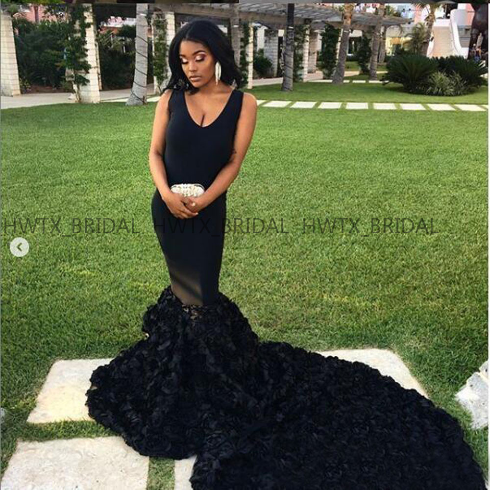 African Black Long Evening Dress Mermaid Sweep Train Flowers Party Formal Dresses Evening Gown Abendkleider 2019 Robe de soiree