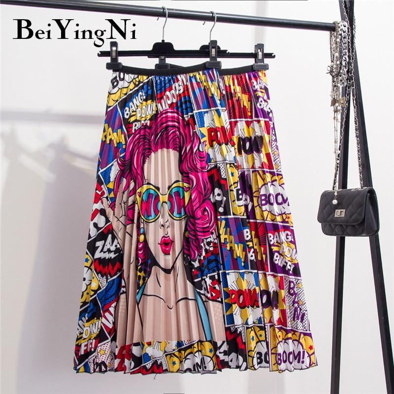 Beiyingni 28 Styles Europe Cartoon Pattern Pleated Skirt Women Street Korean Mid-Calf High Elastic Quality Skirts Party Holiday