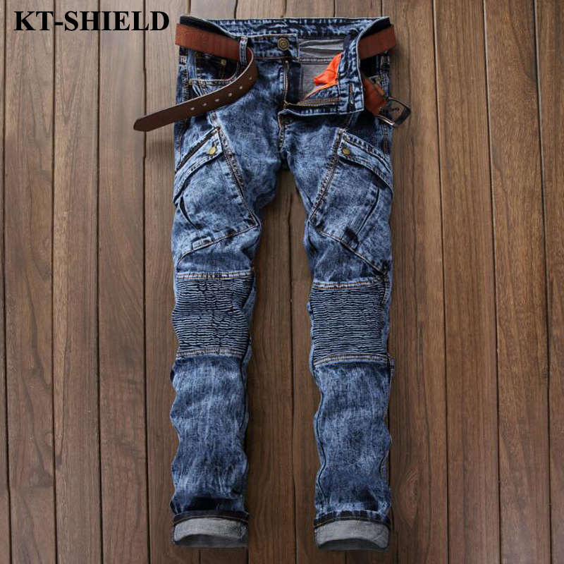 Men s Jeans Pants 2017 new Brand Fashion Denim Trousers Men Vaqueros hombre Biker Distressed Jeans