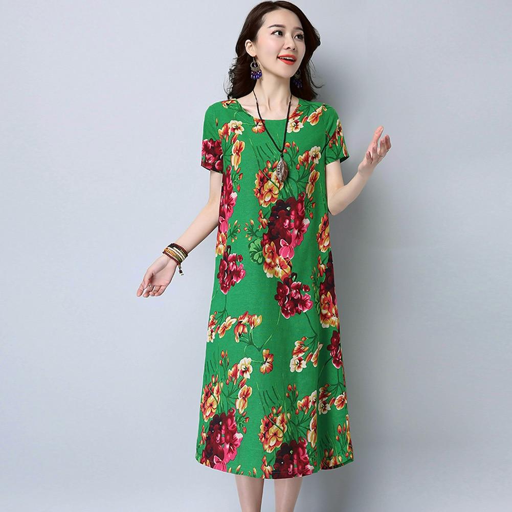 Vintage Women Cotton Linen Dress Floral Print O-Neck Long Sleeve XXXL 4XL  5XL Big a35752176ba8