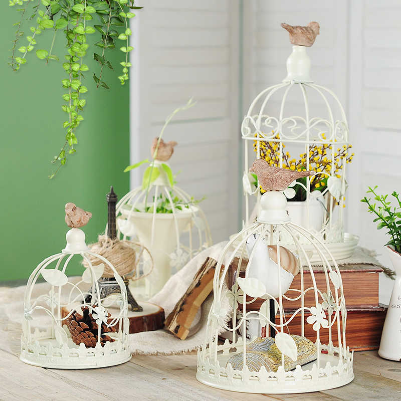 European retro iron bird cage, cafe shop display window decorations, living room Candlestick props, wedding decorations