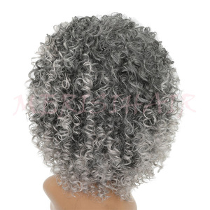 Image 3 - MERISI HAIR Short Curly Brown Blonde Gray Color Wigs For Black Women High Temperature Synthetic Hair