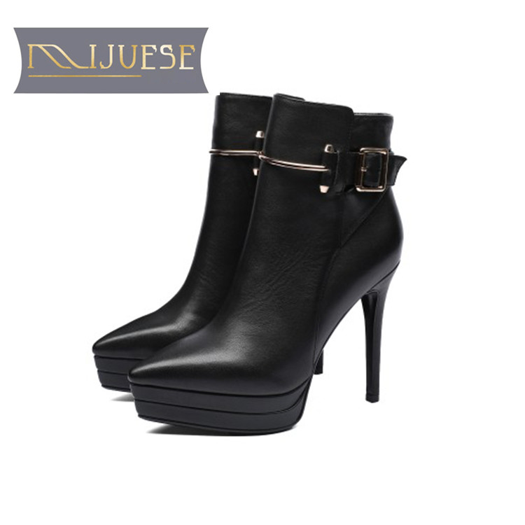 MLJUESE 2019 women ankle boots cow leather Rome style winter warm fur platform boots thin heel high heel women martin boots ankle strap martin boots pointed ends genuine leather boots thin heel women ankle boots fashion punk style winter boots