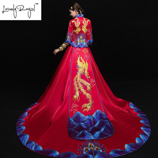 Traditional Chinese Clothing Dragon Phoenix Bridal Gown Wedding ...