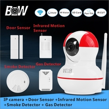 Wi-fi Safety Digicam Alarm System + Door/Infrared Movement Sensor + Smoke/Gasoline Detector 720P HD Wifi Digicam Child Monitor BW12R