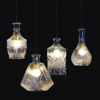 LukLoy Wine Bottle Pendant Light Lamp Modern Glass Pendant Lamps Light For Cafe Bar Kitchen Island