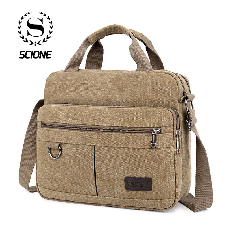 Scione Canvas Office Shoulder Bags Men Multifunction School Travel Messenger Bag High Quality Vintage Satchels Crossbody Pack